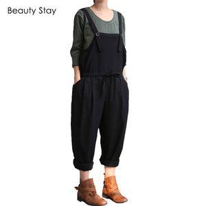 BeautyStay 루즈 숙녀 패션 출산 점프 슈트 코튼 여성 턱받이 플러스 사이즈 Suspender Rompers Overalls Casual Pregnant Pants