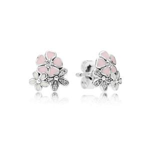 Sevimli Pembe Emaye çiçek 925 Gümüş Saplama Küpe Kadınlar için fit Pandora Gerçek Gümüş Takı Küpe hediye