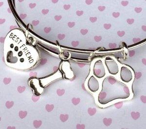 Старинные серебряные ювелирные изделия собаки печать Подушечки Подвески Bone Cat NEW Проволока NE манжета Свадебные браслеты для женщин браслет подарков расширяемый аксессуары H Tawi