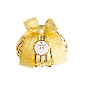 20Pcs Plastic Gold Shell Bomboniere Bomboniere Scatole di cioccolato Scatole regalo per feste Souvenir per ospiti