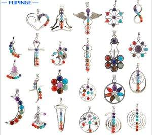 Natural 7 Colorful Stone Beads Reiki Chakra Punto di guarigione Tree of Life Ciondolo fascino per collana di cristallo gioielli 23 stili per scegliere