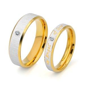 Novos Anéis de Casais Anel de Aço Inoxidável Anjo do Amor Banhado A Ouro Com Cristais CZ Anéis Para Os Amantes de Jóias