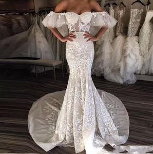 2019 Avorio Sweetheart Mermaid Abiti Da Sposa Spalle Batwing Manicotto Del Merletto Appliques Lungo Treno Abiti Da Sposa Da Sposa Vestido De Novia