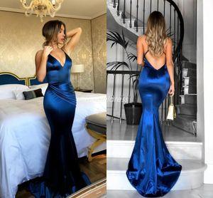 2018 Simple Royal Blue Mermaid Dresses Wear Soirée Spaghetti Criss Cross Bretelles Balayage Train De Bal Robes De Soirée Celebrity Dress