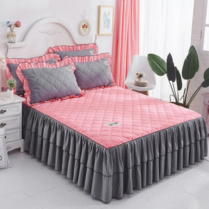 1pc lit jupe princesse couverture de matelas rose bleu été style coréen couverture de lit solide couvre-lit queen size ensemble de literie