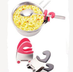 Pot Klipler Paslanmaz Çelik Kırmızı Siyah Ev Maşa Pot Pan Kaşık Tutucu Spatula Depolama Raf Mutfak Pişirme Araçları