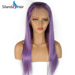 Trasporto di vendita merletto pieno diritto viola Remy dei capelli colorati parrucche del merletto anteriore dei capelli umani parrucche online