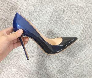 Sexy Farbverlauf flache High Heels Schuhe Dame spitz Lackleder 8,5 cm 10 cm 12 cm Pfennigabsatz Pumpen große Größe 34-46