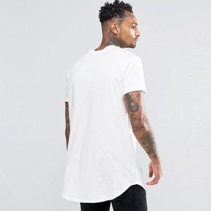 Alle neuen Männer-T-Shirt erweiterte T-Shirt Herrenbekleidung abgerundetem Saum Lange Linie Stück-Hip Hop-städtisches Blank Justin Shirts