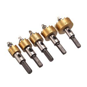 Freeshipping 5 Unids / lote HSS Drill Bit Hole Saw Set de Aleación de Metal de Acero Inoxidable de Madera Perforación de Metal Holw Sierra Cortador Para Herramientas Caseras 16-30mm