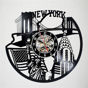 نيويورك الفينيل ساعة الحائط الحديثة ديكور المنزل الحرف الإبداعية اليدوية هدية مكتب الديكور ساعة (الحجم: 12 inche ، اللون: أسود)