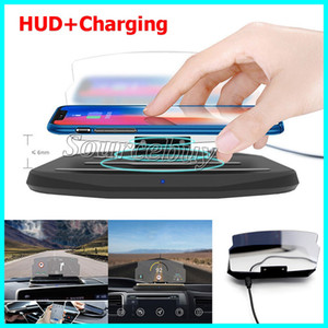 HUD Car Phone Display GPS Carregador Sem Fio Auto Ventilador de Ar Titular para iPhone Smartphone Stand Titular Sem Fio de Carregamento Pad Head-up Display Novo