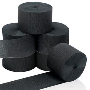 Gros 6 rouleaux noir Streamers rouleau noir crêpe papier banderoles pour divers anniversaire fête mariage Festival Party décorations