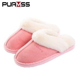 Женщины зима теплая пушистые тапочки овец любителей крытый домашние тапочки плюшевые размер удобный дом обувь розовый дамы удобные тапочки