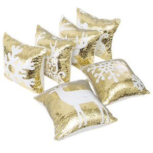 2018 Double Sequin Christmas Pillow Case Cover Snowflake Reindeer Pillowcase Home Sofa Car Cushion cover Xmas Decoration Without Core