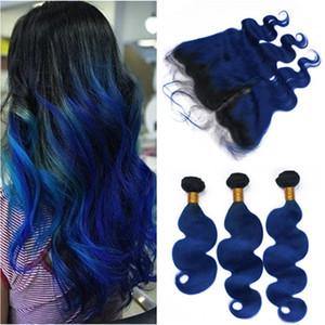 Dark Root # 1B / Blue Ombre Onda malasia para el cuerpo del cabello humano 3Bundles con 13x4 Full Lace Frontal Closure Dark Blue Ombre Cabello de la Virgen teje