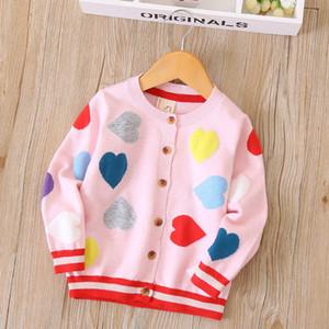 2018 Sonbahar Kış Kız Hırka Aşk Gökkuşağı Nakış Bebek Erkek Kız Ceketler Için Hırka Örme Pamuk Kazak Ceket