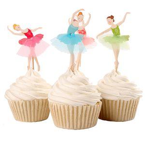 새로운 우아한 발레리나 컵케익 토퍼 댄서 케이크 토퍼 케이크 액세서리 여자 생일 파티 용품 120pcs / lot