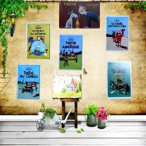 Tintín Película de Dibujos Animados Cartel de chapa Placa de Metal de Hierro Pintura Niños Habitación Pared Bar Ktv Café Decoración de Arte en Casa 30X20 CM A-5039 Y18102409