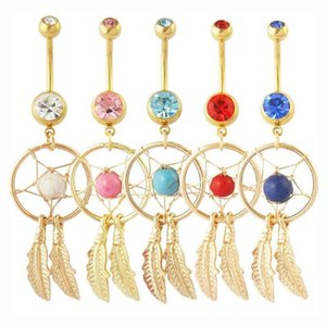 Dreamcatcher Belly Ring avec Big Gems Pierres Nombril Nombril Barbell Bague Tassel Dangle Nombril Bijoux de Corps Piercings 15 Couleurs
