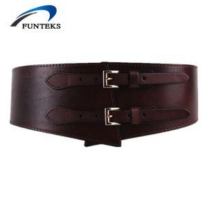 Funteks جديد إمرأة حزام 100٪ أحزمة جلد طبيعي للمرأة واسعة حزام مطاط الإناث مزدوجة مشبك خمر حزام ceinture فام