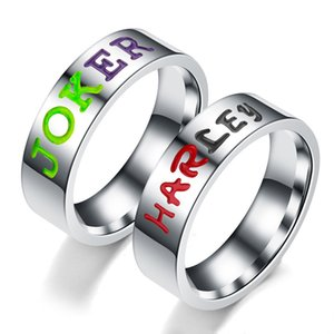 Stainless Steel Suicide Squad Rings for Women Engraving JOKER & HARLEY Letter Commemorate Jewelry Wedding Lover Rings Wholesale