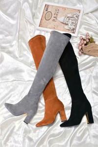 2018 outono e inverno Europa e nos Estados Unidos sobre o joelho botas de camurça elástica de emagrecimento salto alto apontou botas de moda feminina