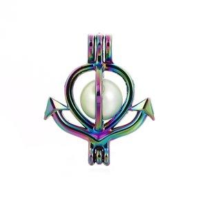 10pcs arcobaleno colore ancoraggio perline gabbia gabbia olio essenziale diffusore ciondolo medaglione ciondolo gioielli fai da te fare per i regali di perle di ostrica