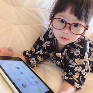 Imported JINS SCREEN kids ANTI-BLUE light plano glasses UV-BLUE CUT GLASSES Television PC Phone protection glasses muti-color full-set cas
