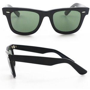 Diseñador de la marca de fábrica de estilo occidental de calidad superior gafas de sol Txrppr Hombres de ángulo clásico gafas de sol de marco negro tabla 50mm UV400 con caja de cuero marrón