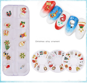 Nail Art Decoration Christmas Alloy Ornament In Wheel Snowflake Snowman Shoes Cap 3D Charm Nail Decoration For Gift
