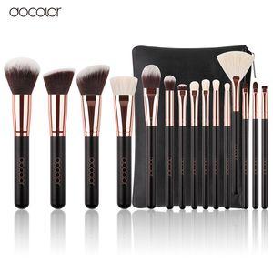 Docolor Nouveau 15 PCS Pinceaux De Maquillage Ensemble Poils De Chèvre Synthétique Cheveux Cosmétiques Kit Maquillage Brosse Avec Sac