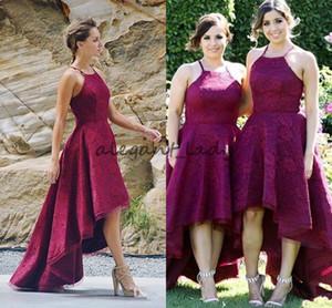 Бургундия кружева страна невесты Платья 2018 Новое прибытие рукавов Дубай свадебные платья гостей на заказ элегантный High-Low платье выпускного вечера