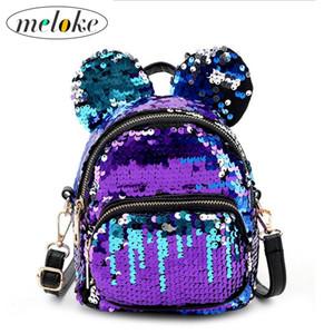Meloke 2018 hot sales femmes mini paillettes sacs à dos de belles oreilles bling multifonctionnel femmes sacs sacs de voyage occasionnels M47