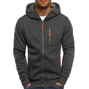 capa de la chaqueta de los hombres básicos' Outwear Cardigan Otoño Invierno de manga larga con capucha de la cremallera del remiendo Tops rompevientos