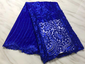 5Yards pc Hot sale royal blue french net lace with beads and rhinestone african mesh lace fabric for dress BN103-2