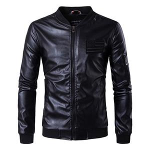 Новых кожаных куртки Мужского American Flag Leather Bomber Куртка мужская Letters Вышивание Куртка и пальто весна осень