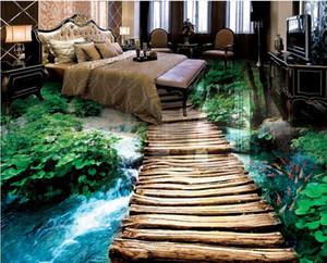 фото обои мост вода ванна 3D пол трехмерная живопись виниловые полы ванная комната