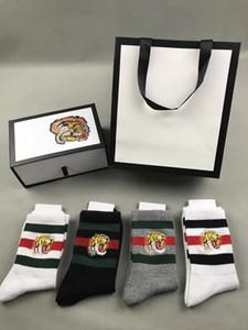 Tête de tigre brodée chaussettes pour homme 2 blanc + 1 noir + 1 gris avec boite d'origine rayé coton jacquard unisexe chaussettes 4 paires / boîte