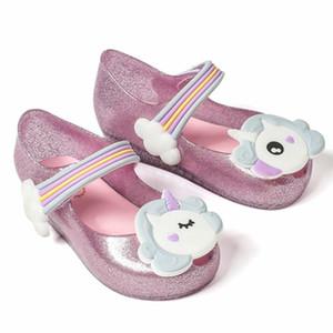 2018 niedrigen Preis Einhorn neue Sommer für Mini Schuhe Mädchen Sandalen Gelee Schuh Fisch Mund Baby Mädchen rutschfeste Kids Fashion Sandale Kleinkind