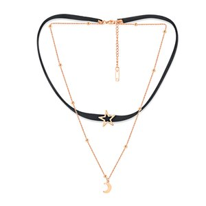 Star Moon Charm Necklace Layering Chain Choker for Women Girls