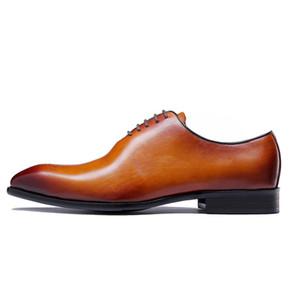 Marka Klasik Hakiki Deri Erkek Bütün Kesim Düz Oxford Lace Up Düğün Parti Adam Kahverengi Elbise Ayakkabı Brogue Oyma