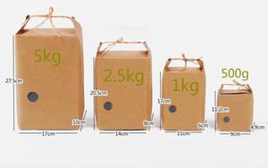 Kraft Paper Rice Bag Stand Bolsas de regalo Food Cookies Walnut Dry Fruit Paquete de té Caja con mango wen6697