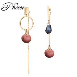 Phesee 3 Colores Nueva Moda Cristalino Asimétrico Pendientes Stud Color de Aleación de Tela Bola Pendiente de la Joyería Bijoux para Mujeres