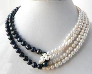 Stränge 18 '' Runde 6-7mm weiße 8-9mm schwarze Süßwasser-Halskette