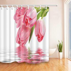 Bei fiori Tema della pianta Tende da doccia 69 X 70 In Poliestere Impermeabile Muffa Perfetta per la casa Forniture da bagno Tenda appesa A buon mercato