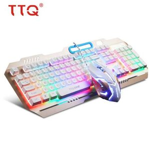 TTQ USB 게이밍 키보드 마우스 게이머 프로페셔널 세트 Razer Led 게이밍 마우스 기계적 느낌 키보드가 유선 2000DPI 게이머 세트 설정