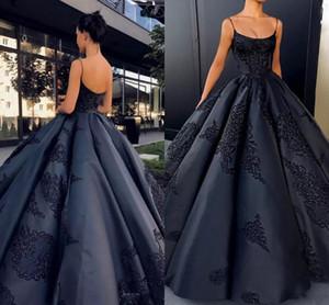 2021 Sparkly Black Spaghetti Sangles Satin Boule robe robe de soirée robes de dentelle sans manches Appliques sans dos robes de bal d'Afrique arabe africain
