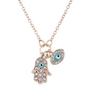 يد الموضة الجديدة من فاطمة كريستال لون الذهب والفضة قلادة تركيا العيون الزرقاء القلائد مجوهرات شحن مجاني