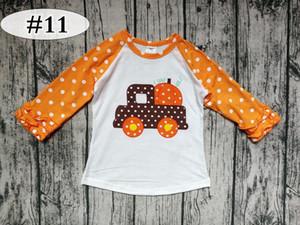 Abóbora de impressão de ação de graças dia dos miúdos de algodão raglan ICING tshirt bebê orange dot plissado mangas tops brancos do bebê unicorn camisas 20 estilos